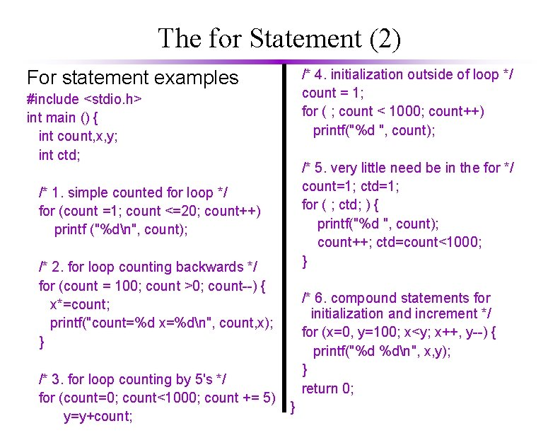 The for Statement (2) For statement examples #include <stdio. h> int main () {
