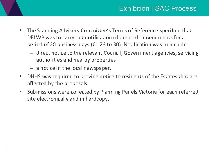 Exhibition | SAC Process • The Standing Advisory Committee's Terms of Reference specified that