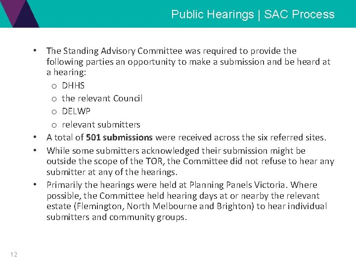 Public Hearings | SAC Process • The Standing Advisory Committee was required to provide