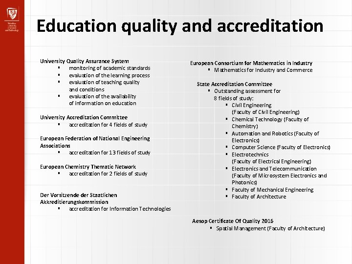 Education quality and accreditation University Quality Assurance System monitoring of academic standards evaluation of
