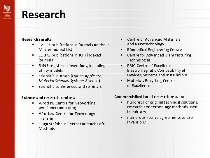 Research results: 12 195 publications in journals on the ISI Master Journal List 11