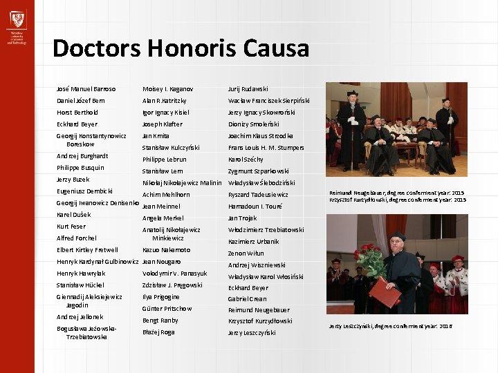 Doctors Honoris Causa José Manuel Barroso Moisey I. Kaganov Jurij Rudawski Daniel Józef Bem