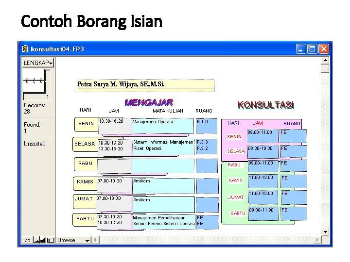 Contoh Borang Isian