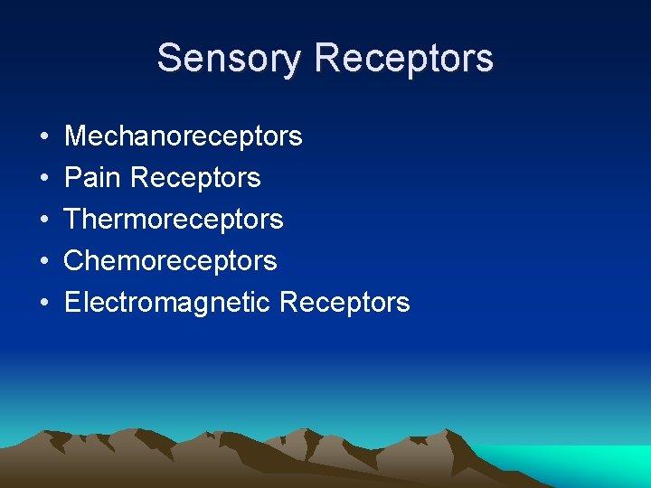 Sensory Receptors • • • Mechanoreceptors Pain Receptors Thermoreceptors Chemoreceptors Electromagnetic Receptors