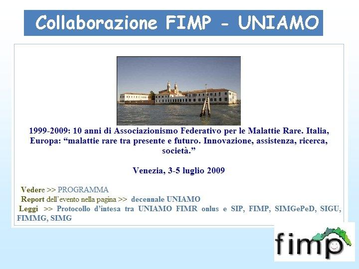 Collaborazione FIMP - UNIAMO