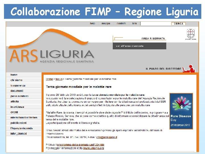 Collaborazione FIMP – Regione Liguria