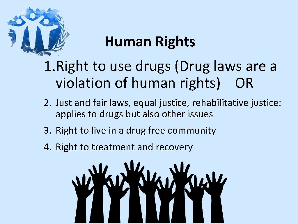 Human Rights 1. Right to use drugs (Drug laws are a violation of human