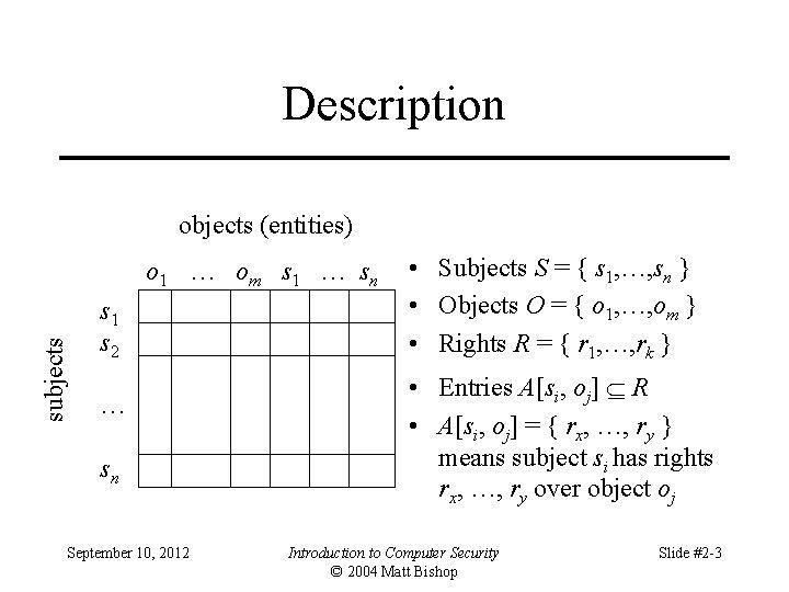 Description objects (entities) subjects o 1 … om s 1 … sn s 1