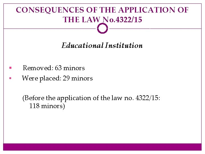 CONSEQUENCES OF THE APPLICATION OF THE LAW No. 4322/15 Educational Institution § Removed: 63