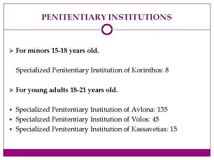 PENITENTIARY INSTITUTIONS Ø For minors 15 -18 years old. Specialized Penitentiary Institution of Korinthos: