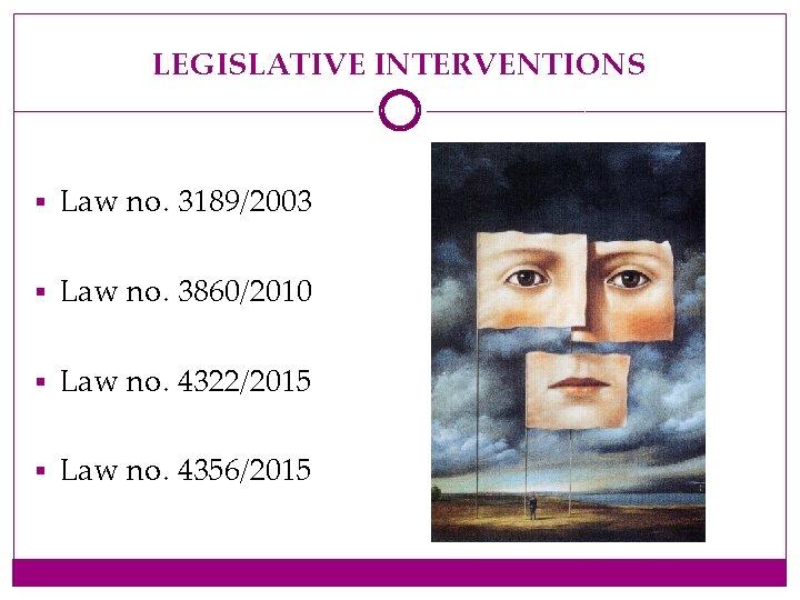 LEGISLATIVE INTERVENTIONS § Law no. 3189/2003 § Law no. 3860/2010 § Law no. 4322/2015