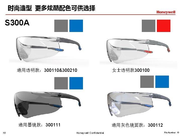时尚造型 更多炫酷配色可供选择 S 300 A 通用透明款: 300110&300210 通用墨镜款: 300111 10 女士透明款 300100 通用灰色镜面款: 300112