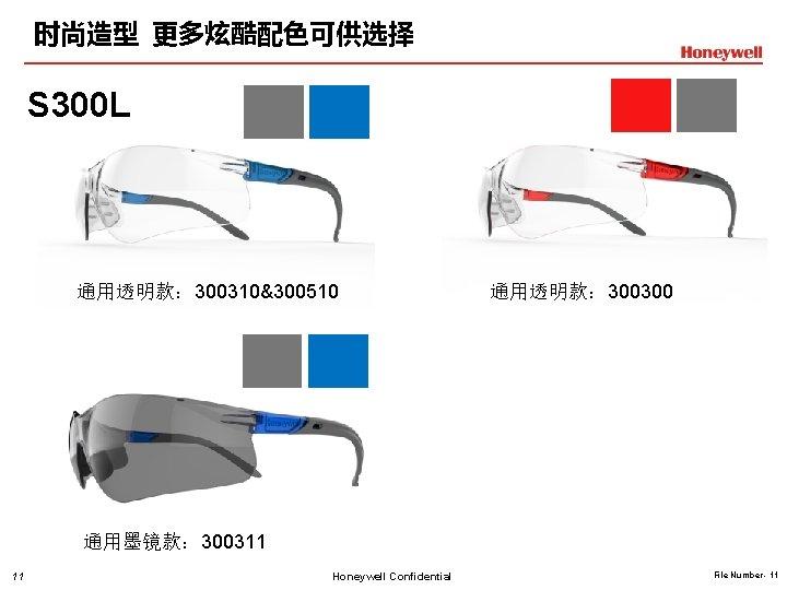 时尚造型 更多炫酷配色可供选择 S 300 L 通用透明款: 300310&300510 通用透明款: 300300 通用墨镜款: 300311 11 Honeywell Confidential