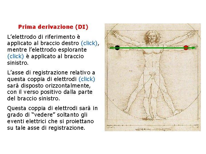 Prima derivazione (DI) L'elettrodo di riferimento è applicato al braccio destro (click), mentre l'elettrodo