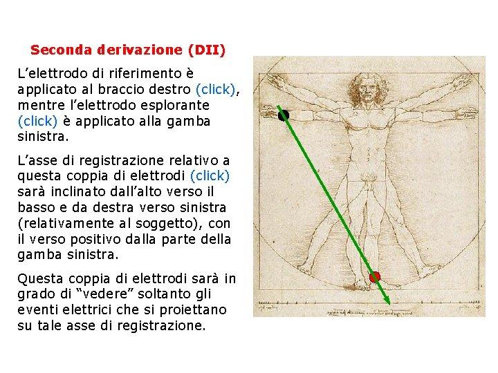 Seconda derivazione (DII) L'elettrodo di riferimento è applicato al braccio destro (click), mentre l'elettrodo