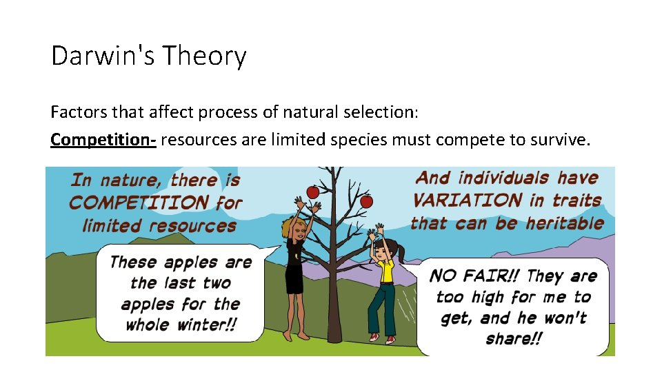 Darwin's Theory Factors that affect process of natural selection: Competition- resources are limited species