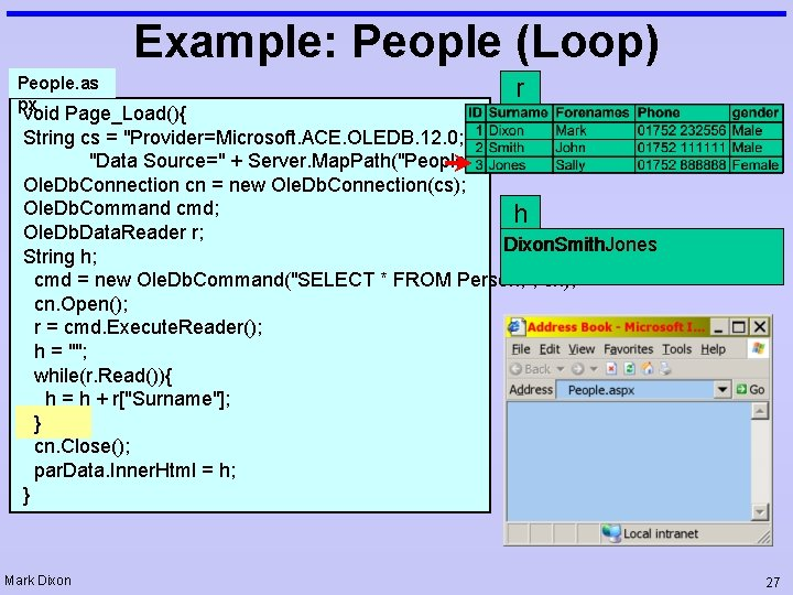 """Example: People (Loop) People. as px r void Page_Load(){ String cs = """"Provider=Microsoft. ACE."""