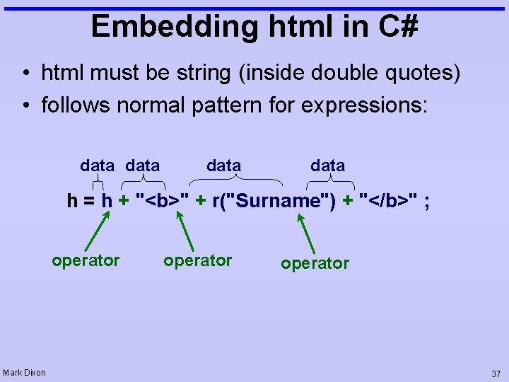 Embedding html in C# • html must be string (inside double quotes) • follows
