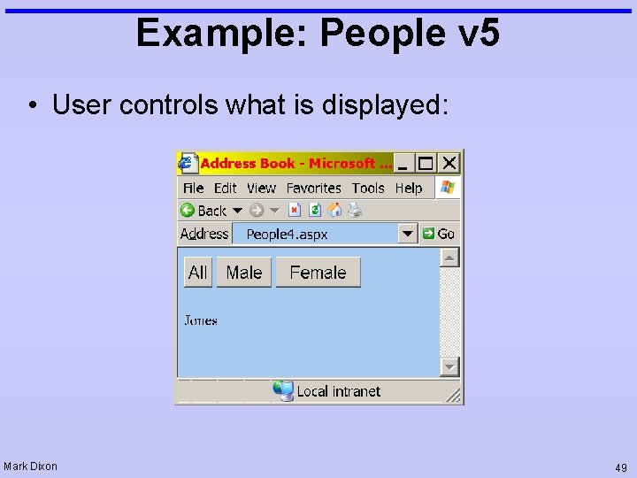Example: People v 5 • User controls what is displayed: Mark Dixon 49