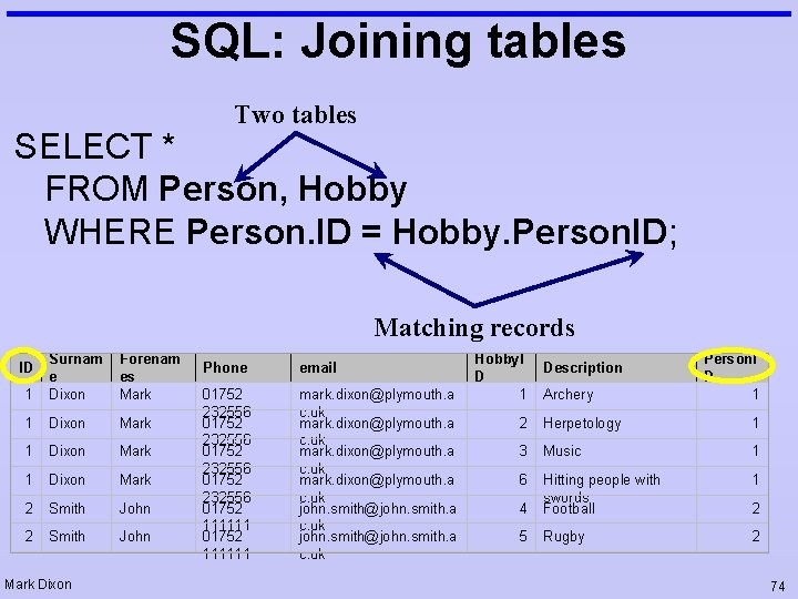 SQL: Joining tables Two tables SELECT * FROM Person, Hobby WHERE Person. ID =