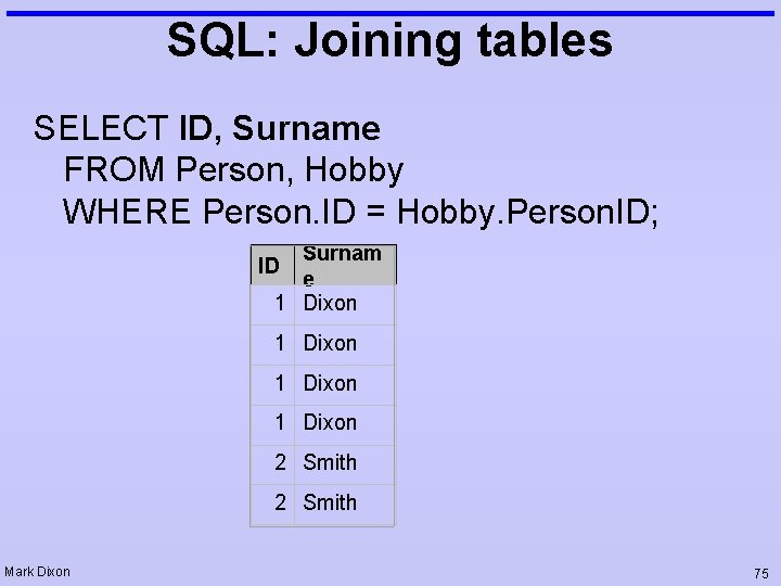 SQL: Joining tables SELECT ID, Surname FROM Person, Hobby WHERE Person. ID = Hobby.