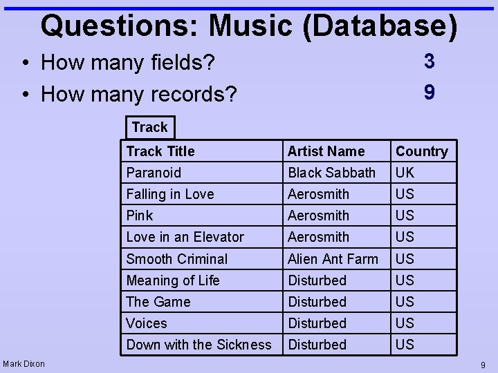 Questions: Music (Database) • How many fields? • How many records? 3 9 Track
