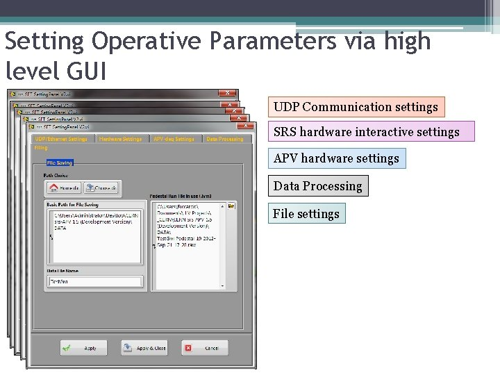Setting Operative Parameters via high level GUI UDP Communication settings SRS hardware interactive settings