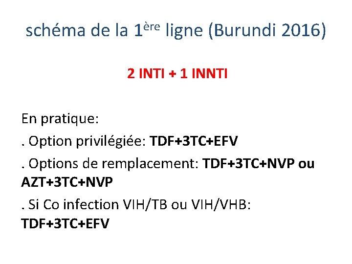 schéma de la 1ère ligne (Burundi 2016) 2 INTI + 1 INNTI En pratique: