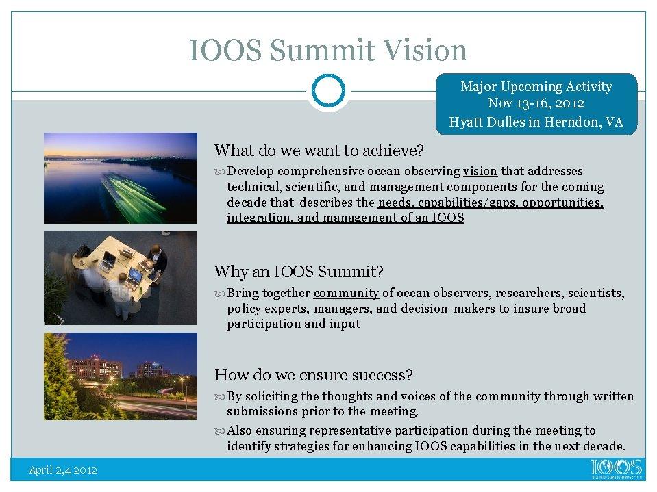 IOOS Summit Vision Major Upcoming Activity Nov 13 -16, 2012 Hyatt Dulles in Herndon,