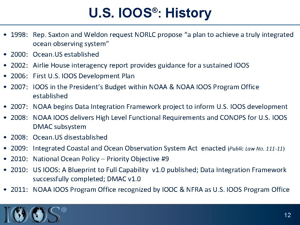 """U. S. IOOS®: History • 1998: Rep. Saxton and Weldon request NORLC propose """"a"""
