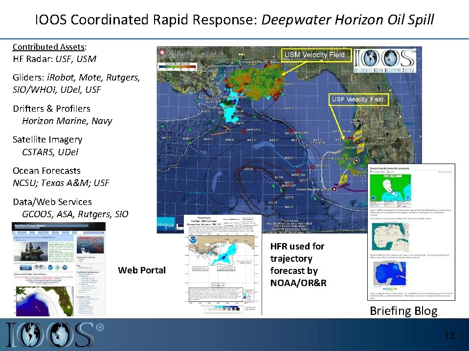 IOOS Coordinated Rapid Response: Deepwater Horizon Oil Spill Contributed Assets: HF Radar: USF, USM