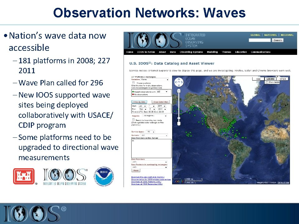 Observation Networks: Waves • Nation's wave data now accessible – 181 platforms in 2008;