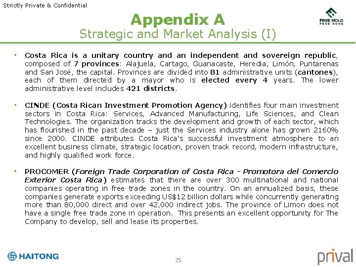 Strictly Private & Confidential Appendix A Strategic and Market Analysis (I) • Costa Rica