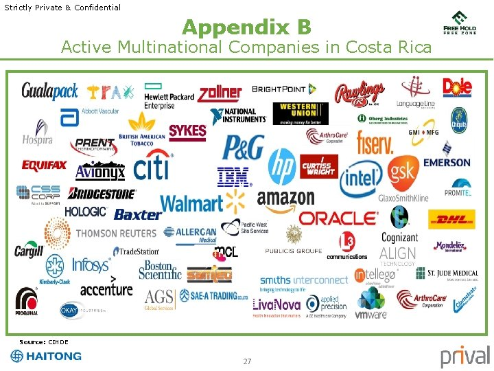 Strictly Private & Confidential Appendix B Active Multinational Companies in Costa Rica Source: CINDE