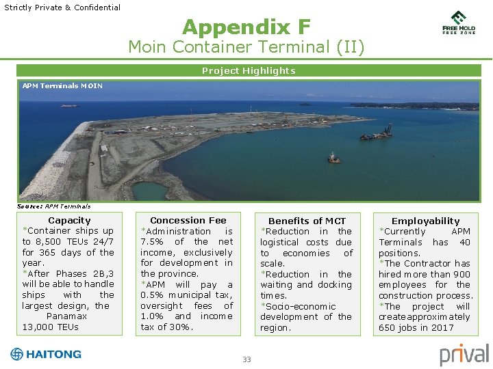 Strictly Private & Confidential Appendix F Moin Container Terminal (II) Project Highlights APM Terminals