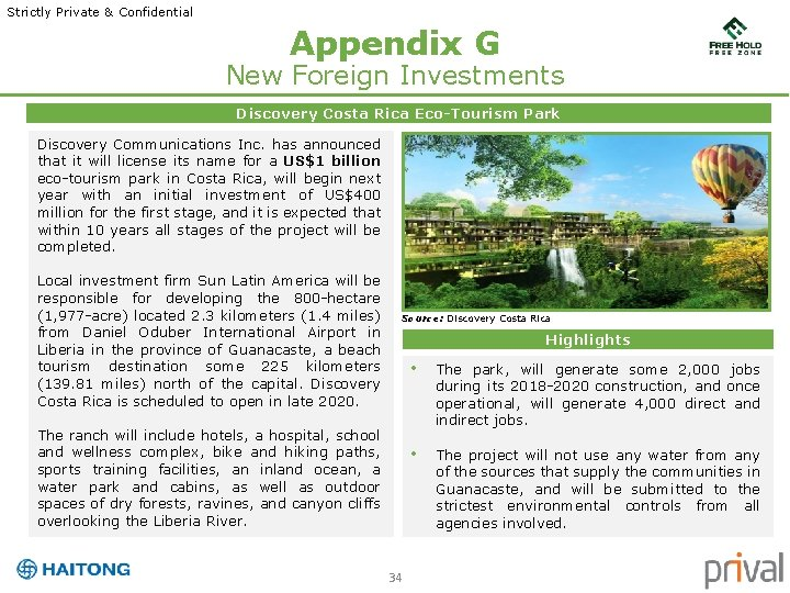Strictly Private & Confidential Appendix G New Foreign Investments Discovery Costa Rica Eco-Tourism Park