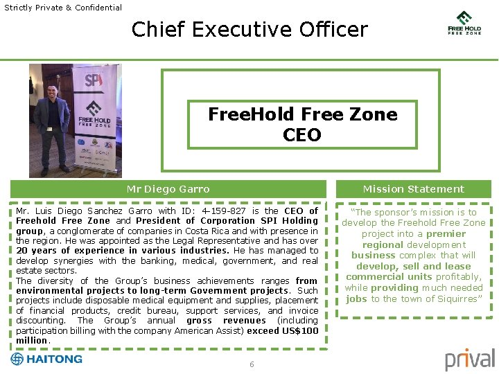 Strictly Private & Confidential Chief Executive Officer Free. Hold Free Zone CEO Mr Diego