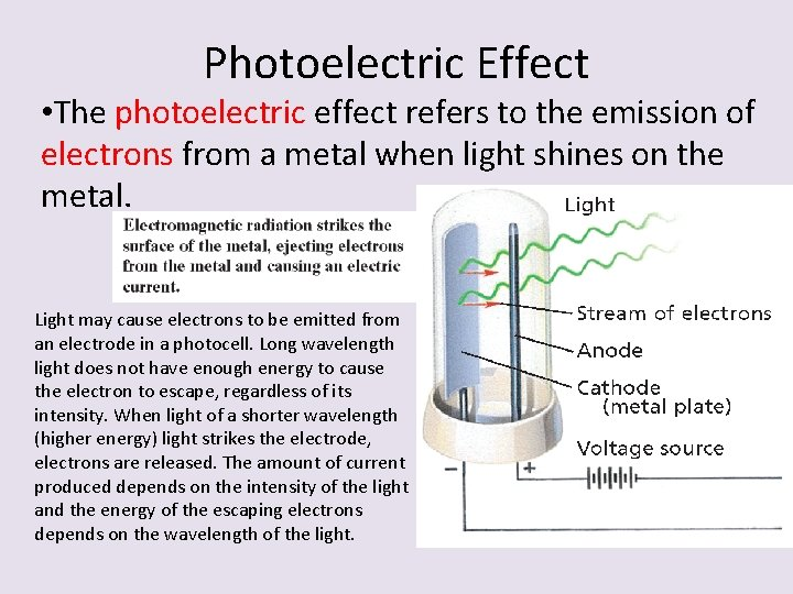Photoelectric Effect • The photoelectric effect refers to the emission of electrons from a