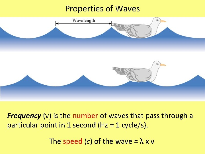 Properties of Waves Frequency (ν) is the number of waves that pass through a
