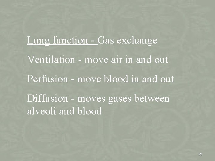 Lung function - Gas exchange Ventilation - move air in and out Perfusion -