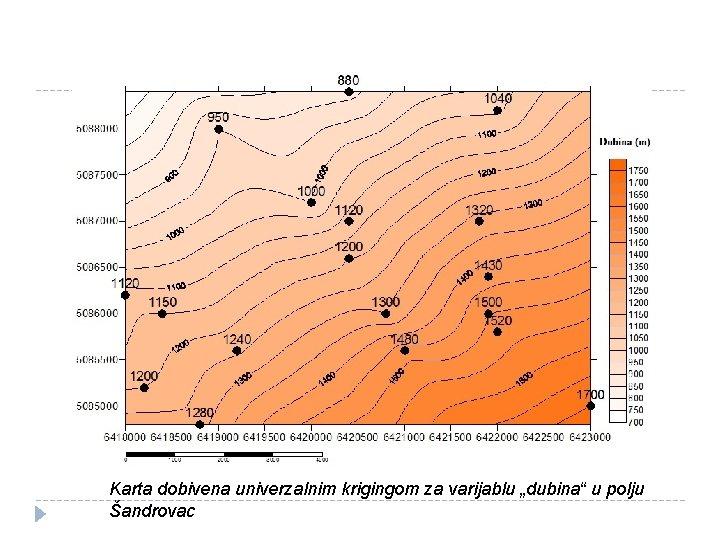 """Karta dobivena univerzalnim krigingom za varijablu """"dubina"""" u polju Šandrovac"""