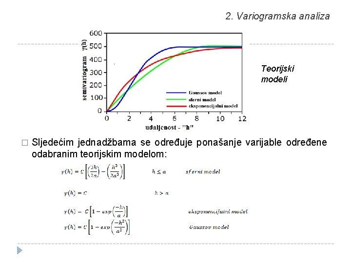 2. Variogramska analiza Teorijski modeli � Sljedećim jednadžbama se određuje ponašanje varijable određene odabranim