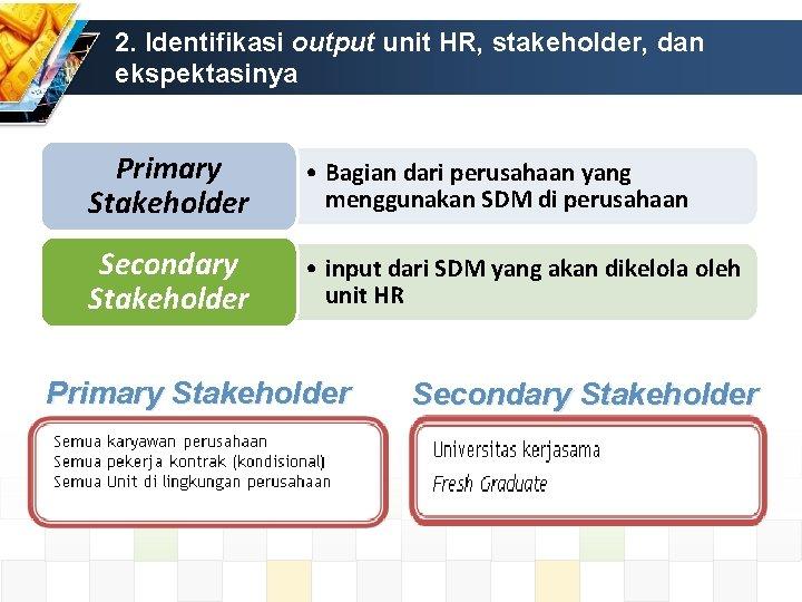 2. Identifikasi output unit HR, stakeholder, dan ekspektasinya Primary Stakeholder • Bagian dari perusahaan