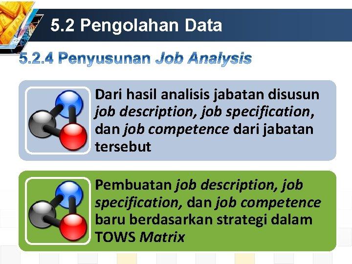 5. 2 Pengolahan Data Dari hasil analisis jabatan disusun job description, job specification, dan