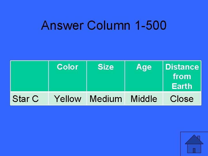 Answer Column 1 -500 Color Star C Size Age Yellow Medium Middle Distance from