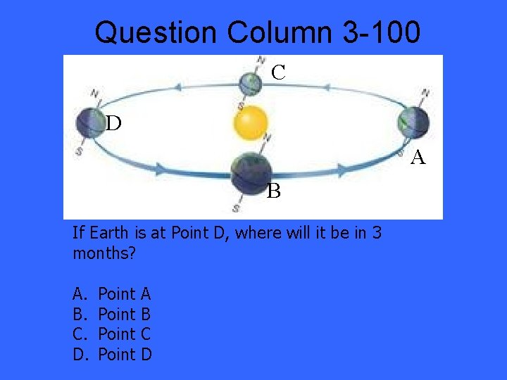 Question Column 3 -100 C D A B If Earth is at Point D,