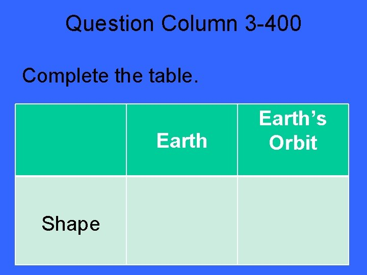 Question Column 3 -400 Complete the table. Earth Shape Earth's Orbit