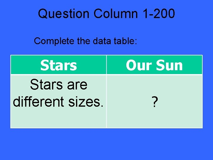 Question Column 1 -200 Complete the data table: Stars are different sizes. Our Sun
