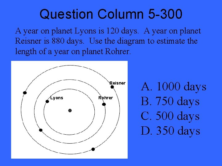Question Column 5 -300 A year on planet Lyons is 120 days. A year