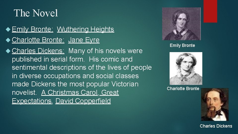 The Novel Emily Bronte: Wuthering Heights Charlotte Charles Bronte: Jane Eyre Dickens: Many of